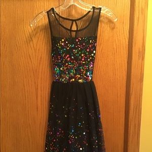 Girl's' Black Sequin Party Dress